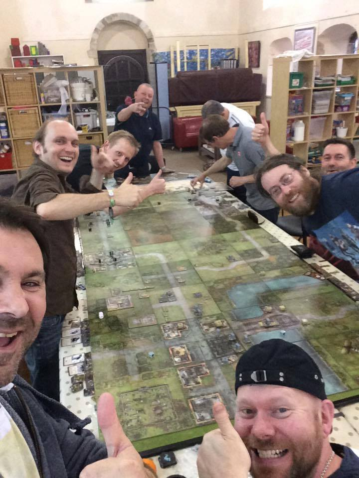 14) The Aftermath Gaming Club Heroes of Normandielarge scenario game crew, a bunch of posers apart from the two serious players in the corner :D